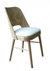 Debra Natural Oak Wooden Side Chair with Upholstered Seat in Cream